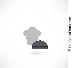 Sombrero de chef con icono de plato