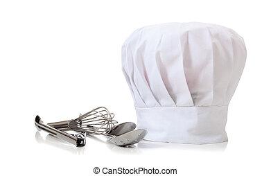 sombrero de chef y utensilios