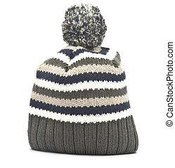Sombrero de lana sobre fondo blanco