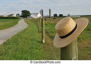 Sombrero de paja Amish en Lancaster Pennsylvania