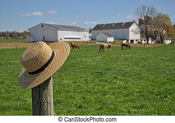 Sombrero de paja Amish en una granja de Pennsylvania