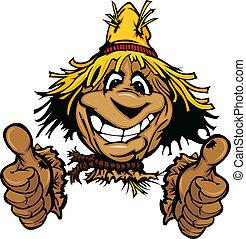 sombrero de paja, arriba, ilustración, cara, pulgares, espantapájaros, caricatura