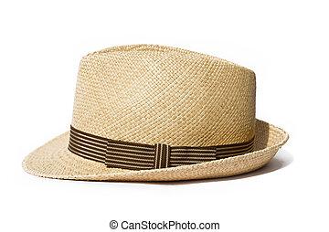 Sombrero de paja de verano aislado en fondo blanco