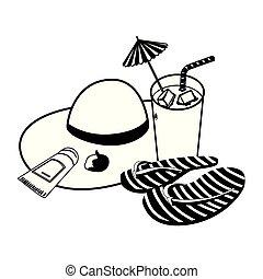 Sombrero de paja de verano con cóctel y fracasos