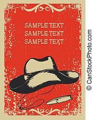 Sombrero de vaquero y cigarro. Imagen gráfica de vector con fondo grunge para texto