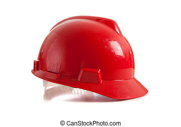 Sombrero duro rojo en blanco