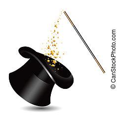 Sombrero mágico y varita con chispas. V