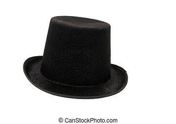 Sombrero negro sobre fondo blanco