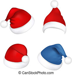 sombreros, claus, conjunto, santa