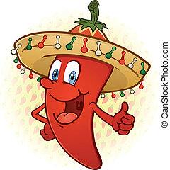 Sombreros de pimienta en caricatura