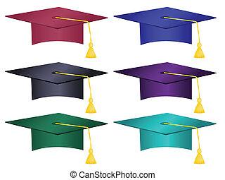 sombreros, múltiplo, coloreado, graduación