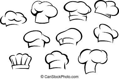 Sombreros y gorras de chef blancos