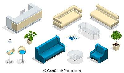 Son muebles de oficina modernos. Interior moderno con un escritorio de recepción. Muebles, oficina.