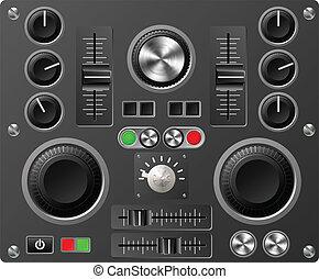 sonido, estudio, tabla, controles, o