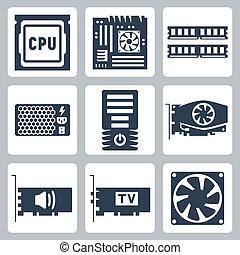 sonido, hardware, vector, caso, potencia, iconos, enfriador, tablero sistema, unidad, carnero, tarjeta, unidad central de procesamiento, computadora, vídeo, tv-tuner, set: