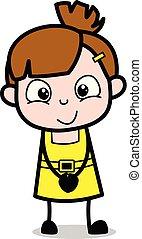 Sonriendo, chica linda dibujo animado ilustración vectorial del personaje