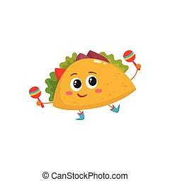 Sonriendo como un burrito bailando y jugando a las maracas mexicanas