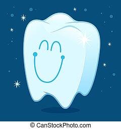 Sonriendo limpio y dientes brillantes