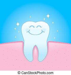 Sonriendo sano y reluciente personaje de dientes en goma de mascar
