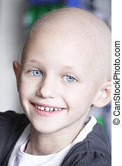 sonriente, cáncer, niño