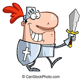 sonriente, caballero, espada