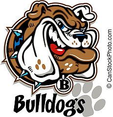 Sonriente carita de bulldog de caricatura