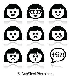 Sonriente chica o mujer cara, avatar