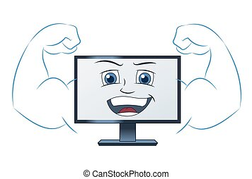 sonriente, computadora, fuerte