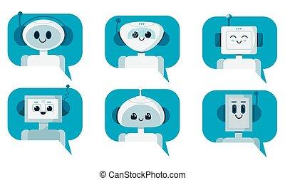 sonriente, discurso, bubble., conjunto, robot, charla, lindo, servicio, concept., vector, caricatura, ilustración, plano, bots, apoyo