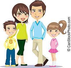 sonriente, familia , feliz