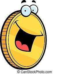 sonriente, moneda, oro