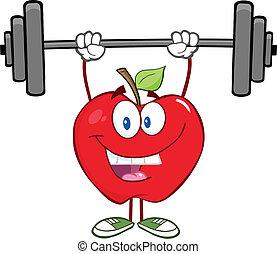 sonriente, pesas, manzana, elevación