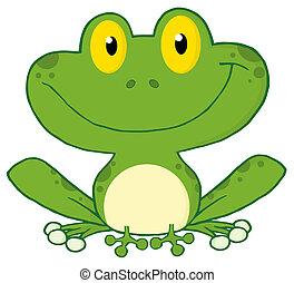 sonriente, rana verde