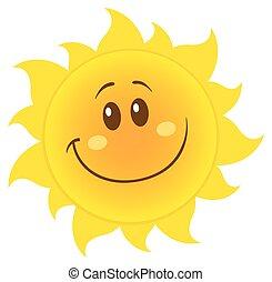 Sonriente sol amarillo simple