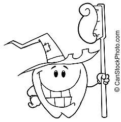Sonriente y sonriente diente de Halloween
