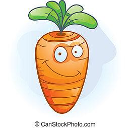 sonriente, zanahoria