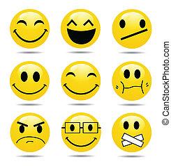 sonrisa, icono, conjunto, vector