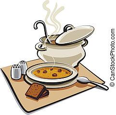 sopa, cuscurros