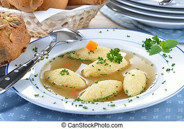 Sopa de masa de semolina