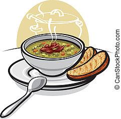 sopa, guisante