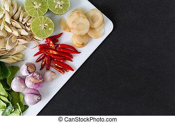 sopa, tailandés, tom, yum, ingredientes