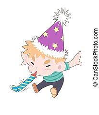 soplar, niño, caricatura, cuerno del partido, lindo, ilustración