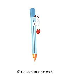 Sorprendida caricatura cómica de pluma azul, bolígrafo humanizado con vectores graciosos de la ilustración