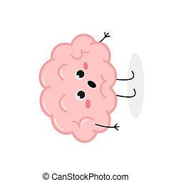 sorprendido, lindo, carácter, caricatura, vector, ilustración, cerebro