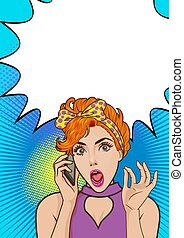 sorprendido, móvil, mujer, teléfono, hablar