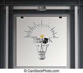 Sosteniendo el poster a mano la bombilla de luz y pensando en el diseño de palabras como concepto