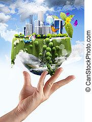 Sosteniendo un globo terrestre resplandeciente