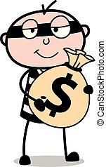 Sosteniendo una bolsa de dinero, dibujos animados de ladrones de criminales ilustraciones de vectores