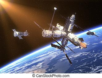 soyuz, nave espacial, estación, espacio