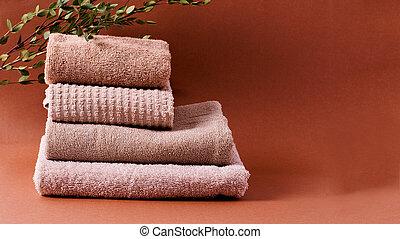 space., algodón, toallas, plano de fondo, marrón, copia, pila